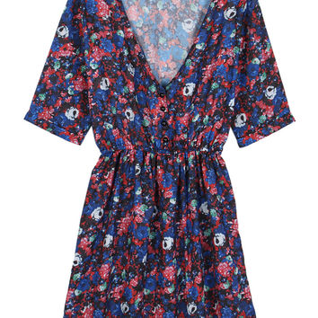 Multicolor Floral Half Sleeve Elastic Waist Dress