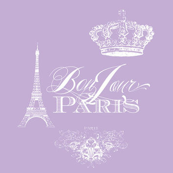 Bonjour Paris Lavender  Bath Mat - bathroom Decor, rubber backed, memory foam, cute Paris, French, purple ,Eiffel Tower