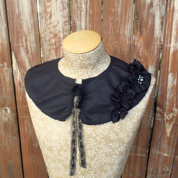 Detachable Fabric Collar in Black with Ruffle and Bead Detail Capelet Shrug Bib by From the Hope Chest
