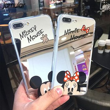 JAMULAR Cartoon Mickey Mouse Mirror Phone Cases for iPhone 6 6s Plus XS MAX XR 5S Silicone Soft Back Cover for iPhone 7 8 X Case