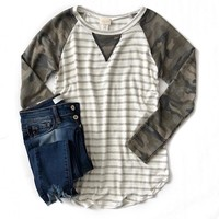 Heather Gray Striped Top with Camo Sleeves