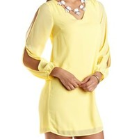 Pale Yellow Cold Shoulder Chiffon Shift Dress by Charlotte Russe