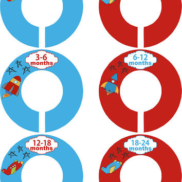 Custom Baby Closet Dividers Airplane Rocket  Blue Red Closet Dividers Baby Shower Gift Baby Clothes Organizers Baby