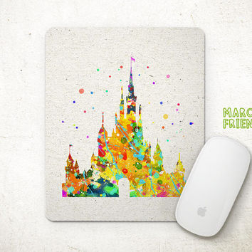Disney Mouse Pad, Castles Watercolor Art, Mousepad, Office Decor, Gift, Art Print, Desk Deco, Computer Mouse, Disney Accessories