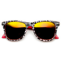 Indie Native Print Two Tone Revo Lens Horned Rim Sunglasses 9381