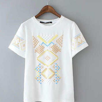 White Geometric Printed T-shirt