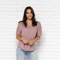 Easton Knit Top in Mauve