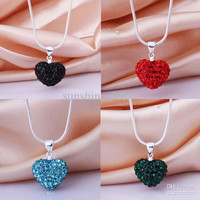 Christmas Gift 925 Silver Multicolor Charms Crystal Heart Disco Bead Pendant Fit Snake Chain Necklace 18""