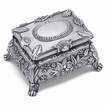 Pewter-tone Finish Floral Jewelry Box - Engravable Personalized Gift Item