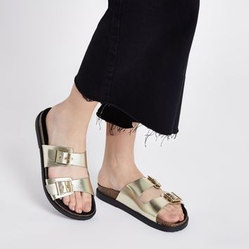 Gold double buckle mule sandals - Sandals - Shoes & Boots - women