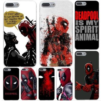 Cool Marvel Hero Deadpool Coque Hard Phone Cover Case for iphone 5 6 7 8 plus X