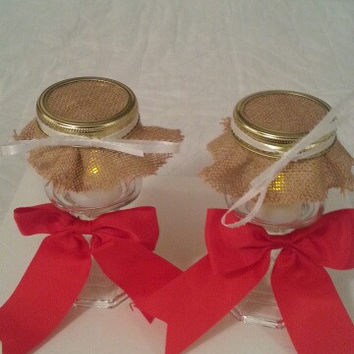Burlap red and white wedding candle jar / center piece set. Any color to match your wedding