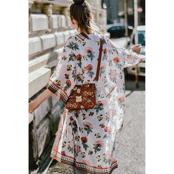 Cover ups Bikini Floral Print Bohemian Chiffon Kimono Cardigans Blouse Long  Summer Beach Cover Women For Female #15 KO_13_1