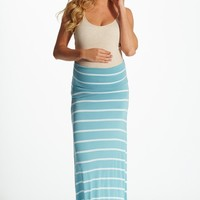 Light Blue White Striped Maxi Maternity Skirt