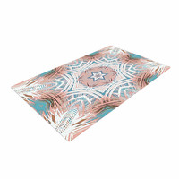 "Alison Coxon ""Tribe Coral And Teal "" Blue White Woven Area Rug"