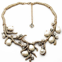 Vintage Pearl Branch Statement Necklace