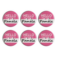 Pamela Hello My Name Is Plastic Resin Button Set of 6