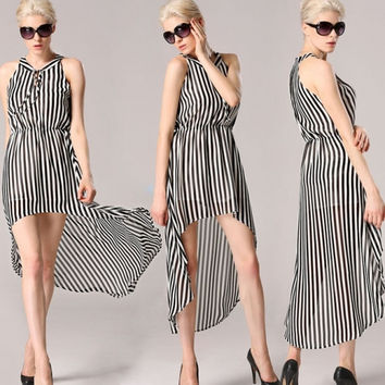 Stylish Lady Women Sexy V-Neck Sleeveless Striped Irregular Hem Casual Chiffon Tunic Long Dress
