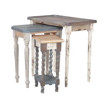 Artifacts Nesting Tables In Multi Stain Collage Finish Multicolor