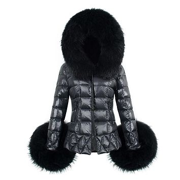 Faux Fur Leather Long Down Parkas Women Warm Winter Coat Fur Hooded Sleeve Female Fox Fur Coats Plus Size Fashion Jacket Outwear