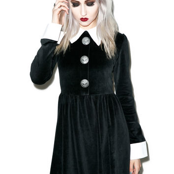 Disturbia Rosemary Velour Dress Black