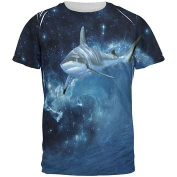Shark Swimming in Space Galaxy All Over Mens T Shirt