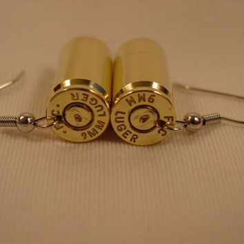 9 mm bullet earrings Shiny Brass 9 MM Ruger Bullet Casing Earrings.on Hypoallergenic Nickel Free Wires