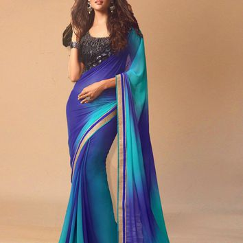 Delightful Blue Soft Chiffon Saree With Designer Sequins Work on Blouse
