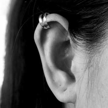 925 Sterling Silver Double Ear Cuff - Silver Ear Wrap - Cartilage Ear cuff - Simple Ear Cuffs - Non pierced ear cuffs - Bridesmaid Gift