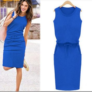 Blue Slim With A Crew Neck Sleeveless Dress