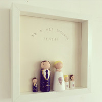 Peg People Wedding Frame, Wooden Peg People, Family Portrait, Wedding Gift