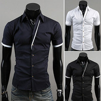Contrast Outline Short Sleeve Button Down Shirt SOS