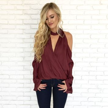 Windy in the City Blouse in Wine