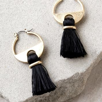 Cha Cha Gold and Black Tassel Earrings