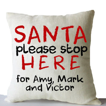Christmas Pillow Cover Santa Please Stop Here Cushion Xmas Decor Merry Christmas Gift Holiday Throw Pillow Case Kids Room Decor Santa Pillow