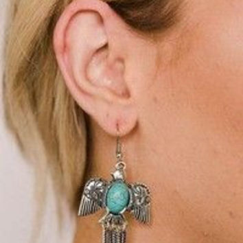 Thunderbird Earrings Turquoise Center Dangling Feathers Tribal Eagle Symbol Of Glory And Power