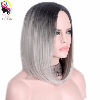 Feibin Short Wigs For Women Synthetic BOBO Straight Ombre Gray Blonde Colour Hair D07