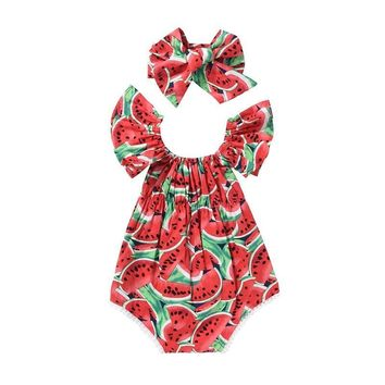 Two Piece Watermelon Print Baby Girl Bodysuits