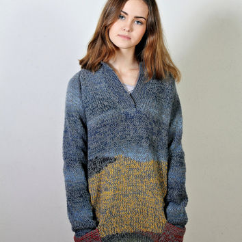 Wheat Field with Crows,  Polo neck sweater,  Women's sweater,  Long sleeves,   Navy blue sweater,  Colorful sweater,  Ready to ship