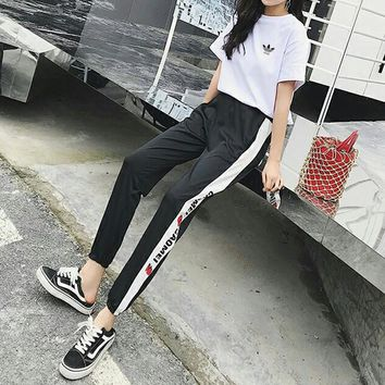 """""""Adidas"""" Women Casual Fashion Short Sleeve T-shirt Multicolor Strawberry Letter Print Leisure Pants Trousers Set Two-Piece Sportswear"""
