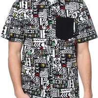 Empyre Word Up Black & White Print Button Up Shirt