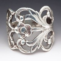 Silver Spoon Antique Inspired Flower Adjustable Ring Hazel R