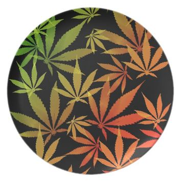 Ganja weed pot grass marihujana pattern yellow dinner plate