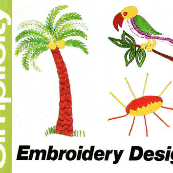 1970s Embroidery Transfer Pattern Uncut Simplicity 6198 Flowers Mushrooms Palm Tree Parrot Sunburst Designs Vintage Embroidery Needlework