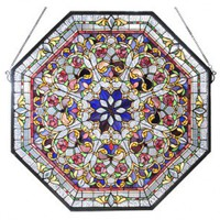 Meyda Tiffany Victorian Tiffany Floral Front Hall Stained Glass Window - 107222 - All Wall Art - Wall Art & Coverings - Decor