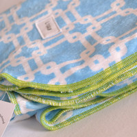 Double plush baby blanket. Blanket size: Size 31 by 40 inches. Colors- White and blue pattern