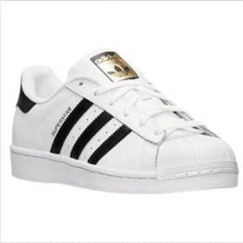 ONETOW Adidas' Fashion Shell-toe Flats Sneakers Sport Shoes White black golden