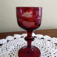 Antique Georgian Bohemian ruby cordial glass - handblown, wheel-etched grapevine pattern