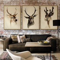 Modern Simple Ink Painting Retro Leather Deer Head Art Print Poster Canvas Print Wall Image Home Bedroom Decoration AN088