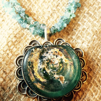Ancient Roman Glass Pendant Set In Sterling Silver, Blue Apatite and Crystal Quartz. Authentic Aqua Blue Ancient Roman Glass Necklace.